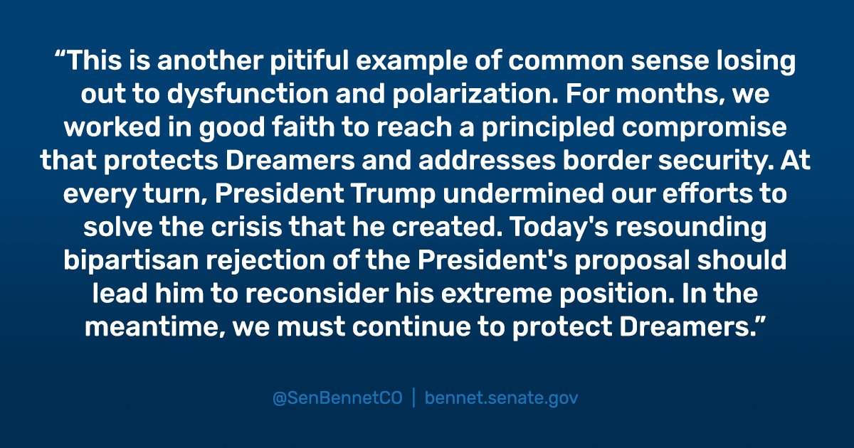 At every turn, @POTUS undermined our efforts to solve the crisis that he created. Today's resounding bipartisan rejection of the President's proposal should lead him to reconsider his extreme position. My full statement: https://t.co/hurm1EcXJC