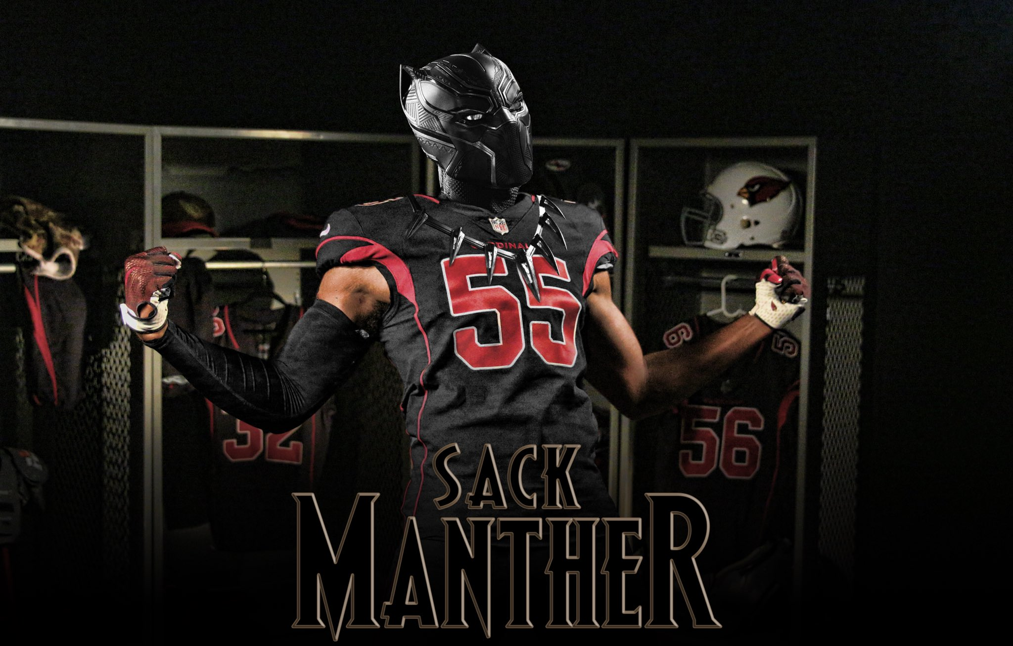 He loves to get after QBs.  They call him the Sack Manther. #BlackPanther https://t.co/Paf0cxzMIp