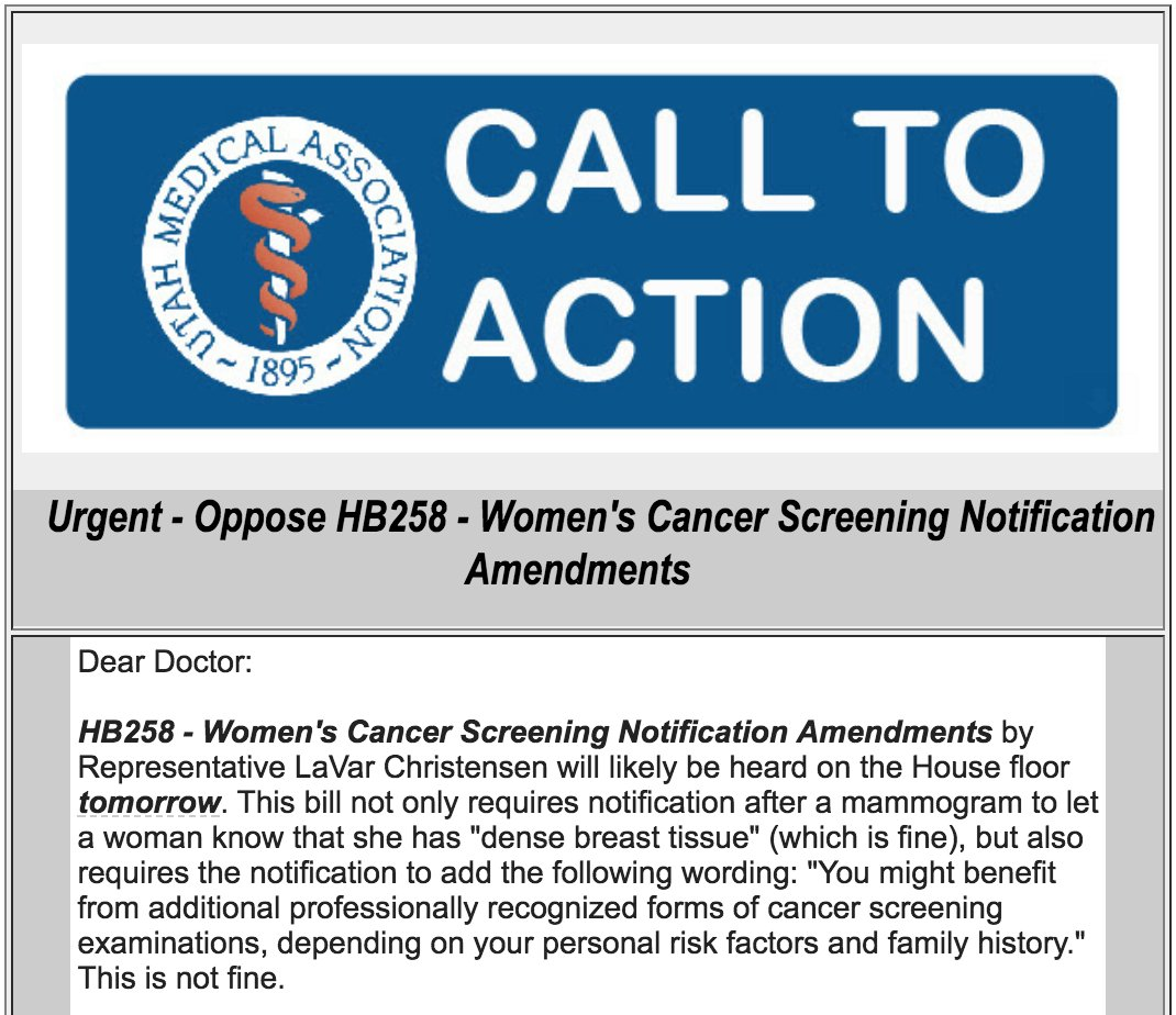 test Twitter Media - Utah's medical community strongly opposes Rep Christensen's HB258. This bill illustrates why politicians should not be dictating to doctors how to interact with patients and practice medicine. This bill ignores best practices & medical evidence. #utpol #utleg https://t.co/DDxiVYVsWc