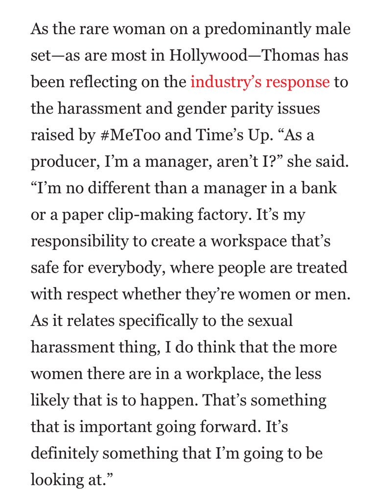 Thomas also said she wants to hire more women on her films. https://t.co/ENMAKjKb09