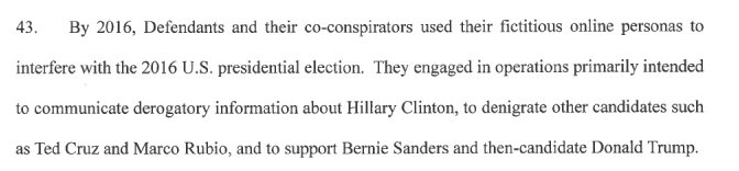 Indictment charges that Russians boosted Trump, Sanders, attacked Clinton, Rubio, Cruz https://t.co/366Ud3TMIl