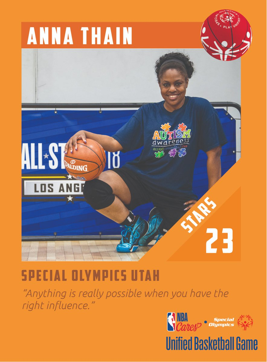 🏀 TUNE-IN ALERT: TOMORROW 12:30pm ET/9:30am PT. The 1st ever broadcast of the @nbacares @specialolympics Unified Sports Basketball Game at #NBAAllStar Watch here: https://t.co/D0ZAtJK25w   Introducing the athletes from the STARS✨ team representing @specolyutah⛹🏿♀️⛹🏼♂️ https://t.co/1PTRPw3VaW