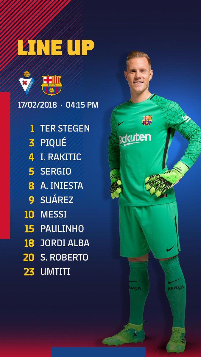 RT @FCBarcelona: ???????? Barça XI #EibarBarça https://t.co/99QNNEFx9N