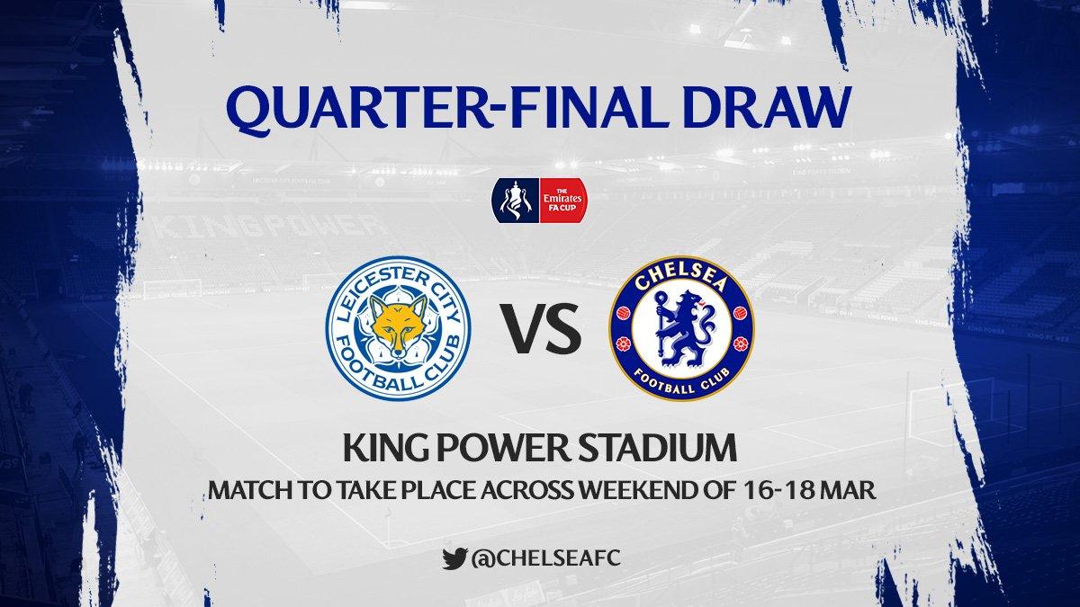 RT @ChelseaFC_Sp: ¡Nos enfrentaremos al Leicester City, como visitantes, en la siguiente ronda de la FA Cup! https://t.co/afirZKZ1A3