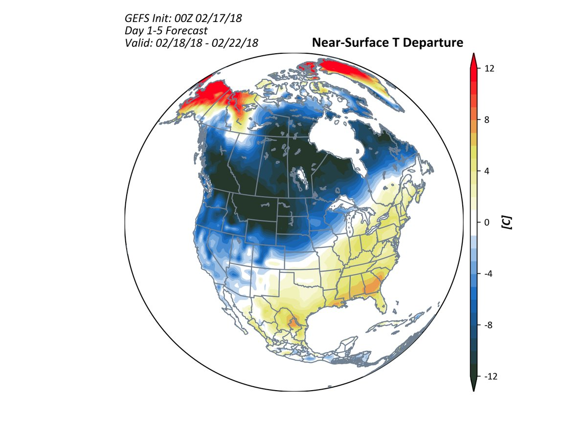 test Twitter Media - With the surge of near-record warmth expected in the E and SE US, and the turn to cold across the Northern Plains and Western US, the DJF 17/18 US temperature anomaly map may turn out above average in many places except for the Northern Rockies and Northern Plains. https://t.co/2ki4Z3H04d