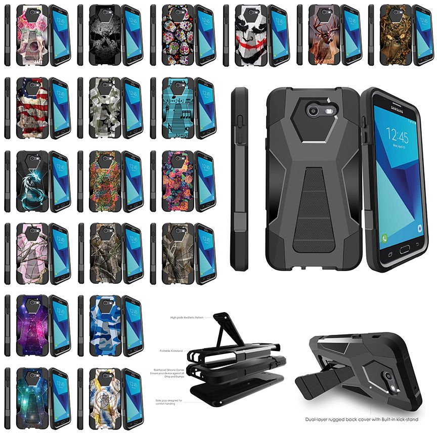 For Samsung Galaxy J7 V   J7 (2017)   Perx   Sky Pro Dual Case - Unique...