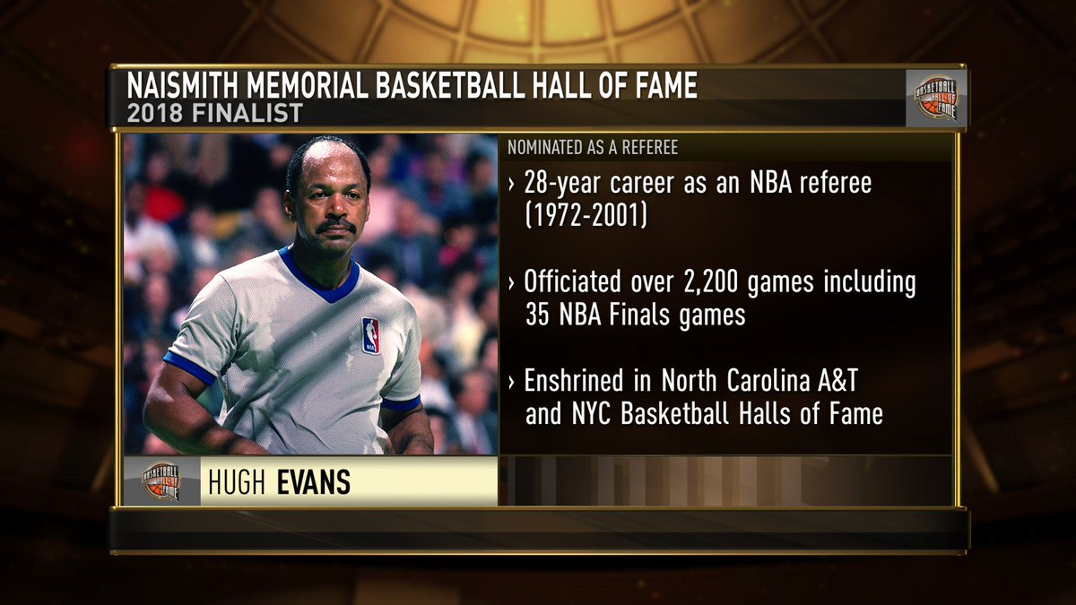 Congrats to former @NBA Referee, Hugh Evans, named @Hoophall finalist for the Class of 2018. The @Hoophall Class of 2018 will be announced on March 31. https://t.co/TLlEBbjoo5