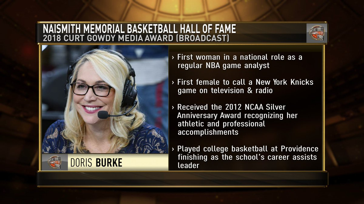 Congrats to @ESPNNBA Doris Burke. The versatile (and excellent) Burke is the recipient of the @Hoophall Curt Gowdy Broadcasting Award. Burke is the first woman to serve as a full-time @NBA analyst. https://t.co/38gcub0hqr