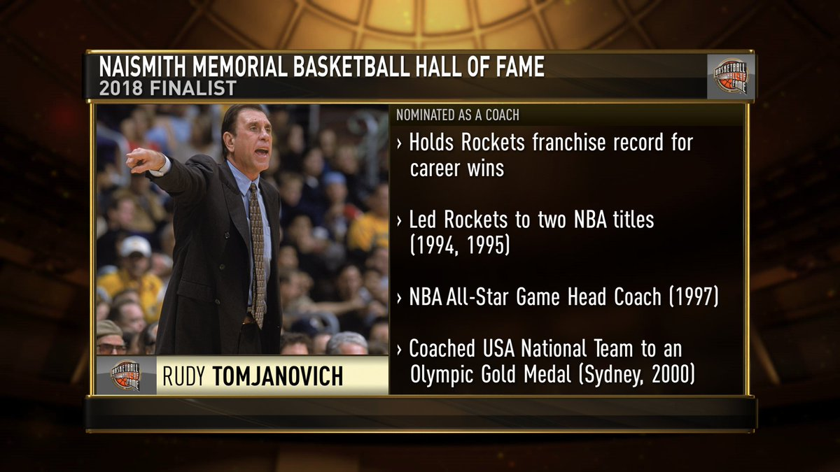.@Hoophall Congratulations to #18HoopClass finalist Rudy Tomjanovich, who is one of three coaches to win an @NBA Championship and an Olympic gold medal! https://t.co/pBp0AONpa1