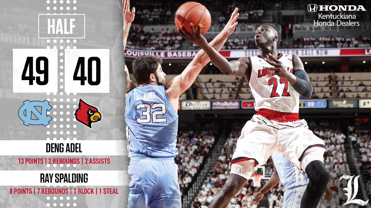 Cardinals hit 5-6 FGs to end the half and close UNC's lead to single digits.   North Carolina 49, Louisville 40 https://t.co/BxR3h4Dn0q