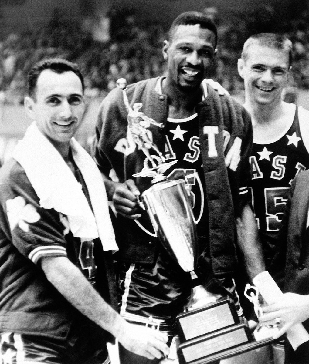 .@ESefko is correct. Bill Russell was named @NBAAllStar Game MVP in 1963, the first year LA hosted the game. Russell, flanked by @celtics teammates Bob Cousy [left] and Tom Heinsohn, dropped 19 points and grabbed 24 rebounds in the East's 115-108 win at LA Memorial Sports Arena. https://t.co/S3l2YCTggb