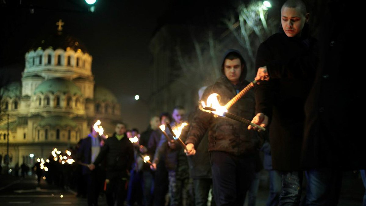 Far-right extremists march in Bulgaria to honour pro-Nazi general