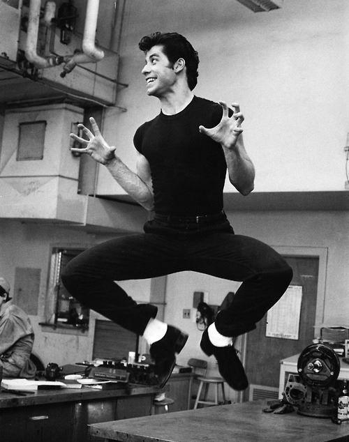 Happy birthday to John Travolta. Photo from the set of Grease, 1977.
