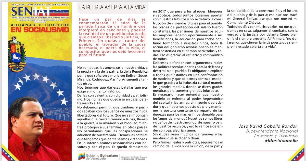 RT @jdavidcabello: #FelizDomingo Venezuela, aquí mi columna de esta semana. #SoyPSUV https://t.co/TN8tuFhF1b