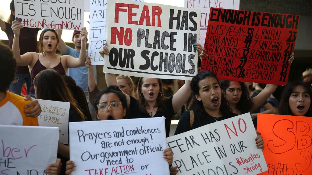 Students lead call for gun control in aftermath of Florida shooting