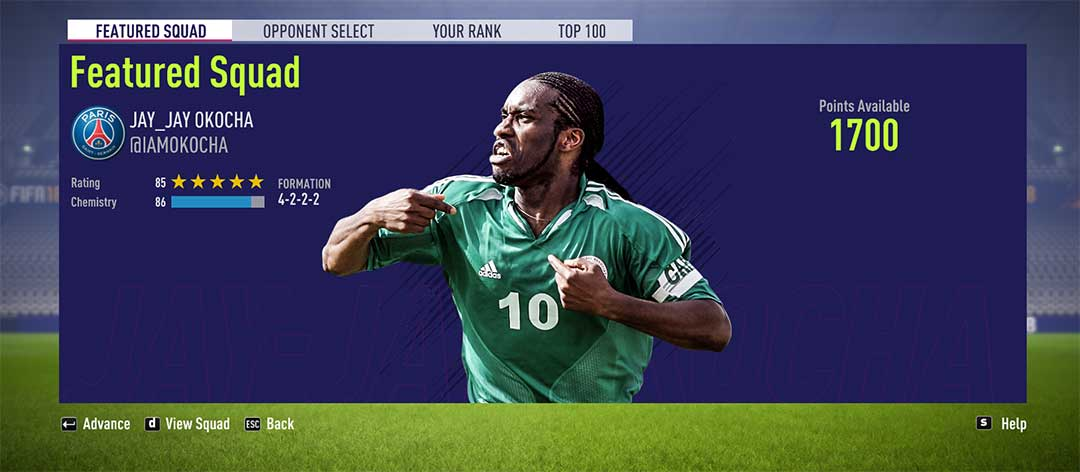 This week, you can play against Jay-Jay Okocha's squad on #FIFA18 Squad Battles: https://t.co/3qlJ62mfwa https://t.co/BxVlCh2XlS