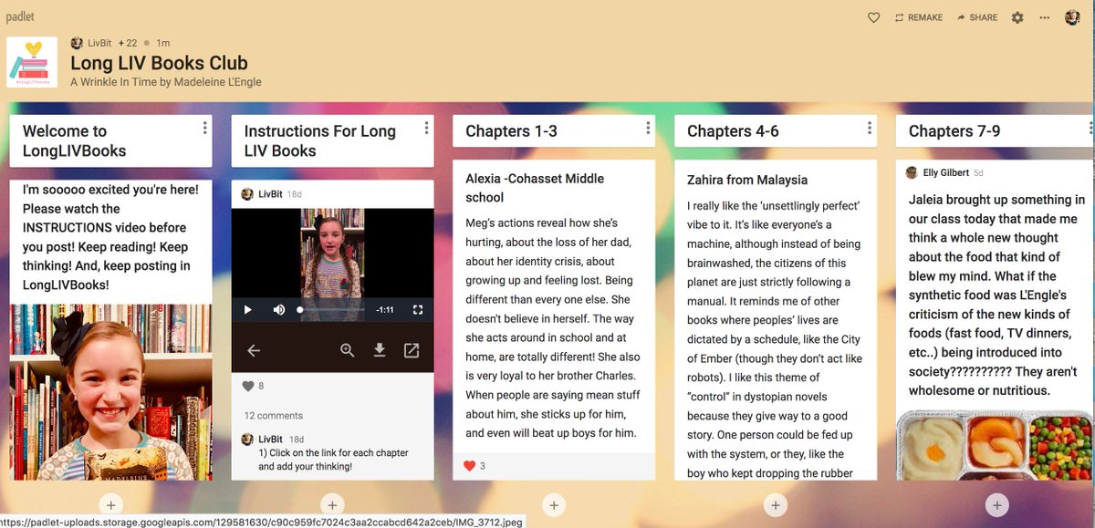 Teachers!!! My @padlet DIGITAL BOOK CLUB #longLIVbooks has sooooo much incredible thinking  on it!!!! THANK YOU SOOOO MUCH for sharing it w/ your Ss!! I challenge kids to show their thinking using the other tools too like drawing, video, voice thread or even a link! Can you help? https://t.co/mAEXiTuJhA