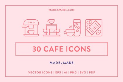 30 Cafe Linear Icon Pack Icons freebies design SocialMedia