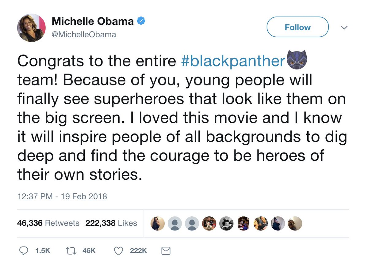 """""""Black Panther"""" just got another huge stamp of approval — from former first lady Michelle Obama https://t.co/ROirx6WGZY https://t.co/wu3J9meCsZ"""