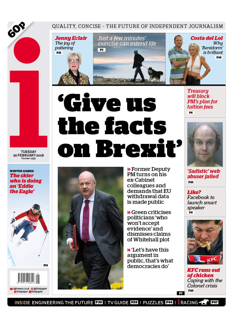 "Tuesday's i - "" 'Give us the facts on Brexit' "" #bbcpapers  #tomorrowspaperstoday https://t.co/onRorDEXfm"