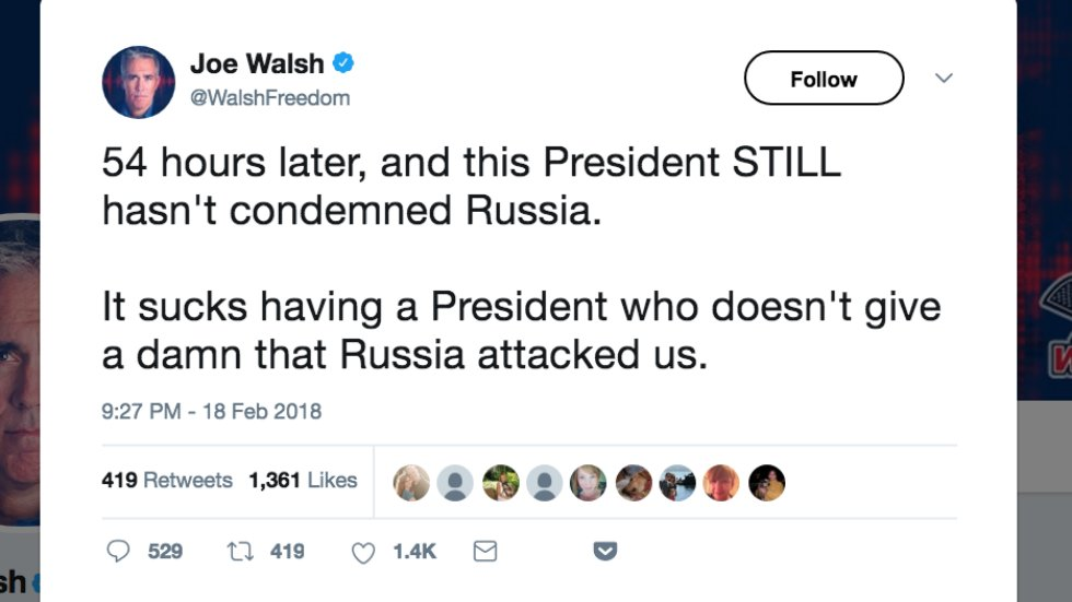 Ex-GOP lawmaker tears into Trump: It 'sucks' he 'doesn't give a damn' Russia attacked us https://t.co/8mtEtvC3QV https://t.co/FCGsc8MrMu