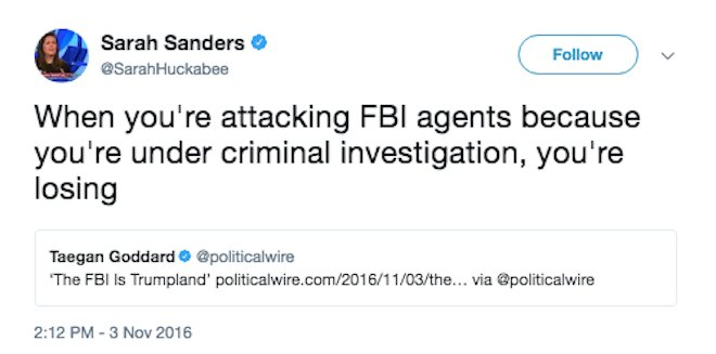 RT @TheDailyEdge: Even Sarah Huckabee Sanders says he's losing. #TrumpColluded https://t.co/zkTobxby2i