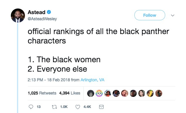 RT @ajplus: Who runs Wakanda? Black women. https://t.co/wOyYgAAvot