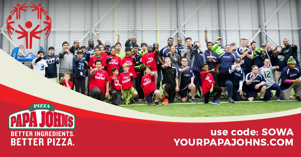 """Do you like 🍕? Do you want to support Special Olympics? Then now though March 4th use the promo code """"SOWA"""" at https://t.co/Em3rVRjJSl and 20% of your order will go to support our inspiring athletes. @yourpapajohns. https://t.co/W29ZdrkDnY"""