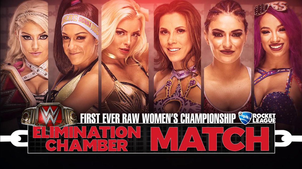 ALSO THIS SUNDAY: Six women make history in the first-ever Women's Elimination Chamber match at #WWEChamber! Will @AlexaBliss_WWE @MickieJames @itsBayleyWWE @SashaBanksWWE @WWE_MandyRose or @SonyaDevilleWWE walk out with the #RAW #WomensChampionship? https://t.co/lfzTF3rVei
