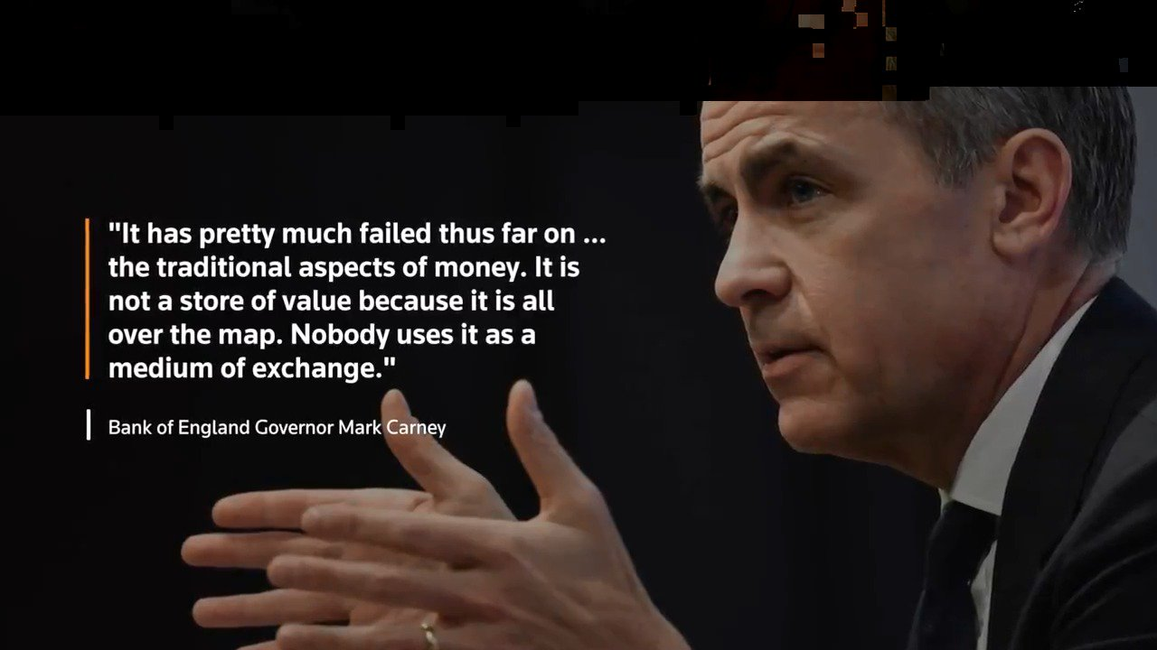 Bitcoin declared a failure by BoE's Mark Carney. More from @ReutersTV: https://t.co/fRA5i2wMSf https://t.co/A7VsaycdCK