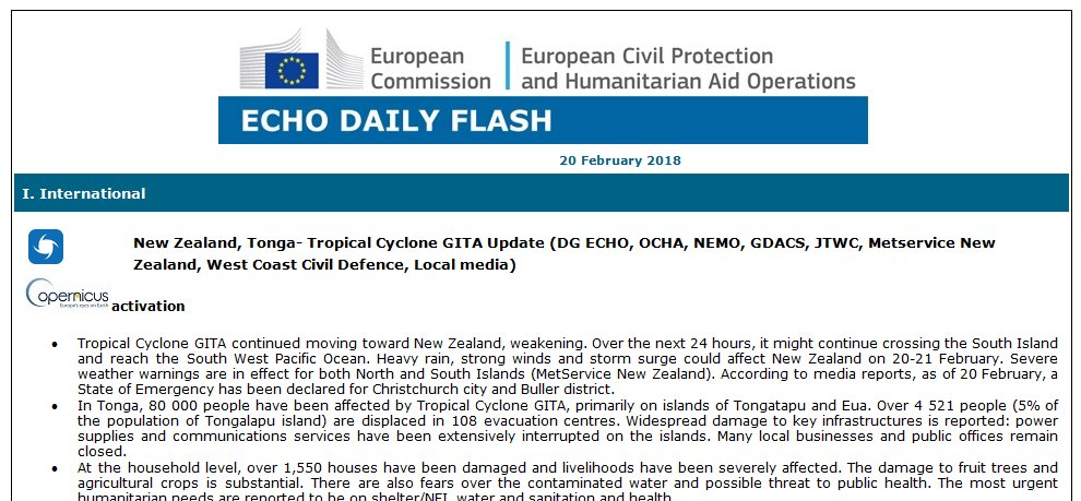 test Twitter Media - Daily Flash ⚡️| #TCGita situation update and forecast - 80000 people affected in #Tonga with most urgent humanitarian needs shelter, water, sanitation and health. #EU has mobilised emergency assistance | More: https://t.co/HRcEVd4GcO https://t.co/YFpSSnTzDS