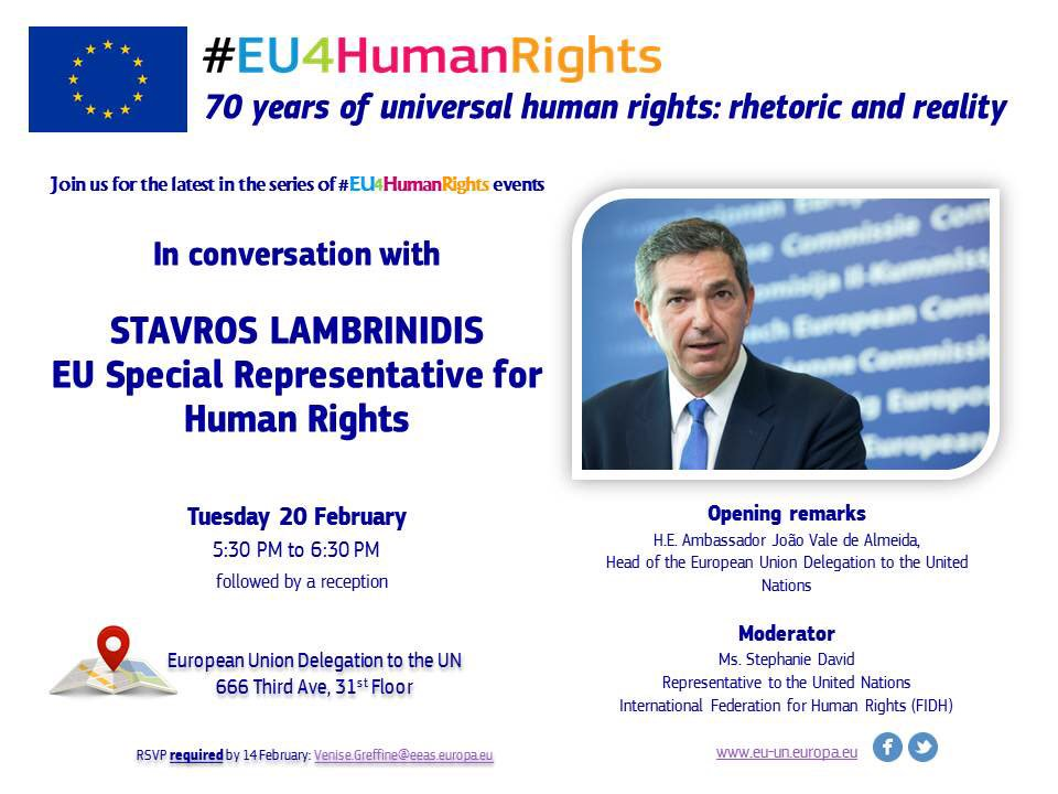 test Twitter Media - Glad to welcome again the #EU's tireless champion of #humanrights, @SJLambrinidis.  Join us at 17:30 via https://t.co/DoeBUVig1b for a special interactive #EU4HumanRights event on 70 Years of Universal Human Rights: Rhetoric & Reality https://t.co/8PdYpmDD69