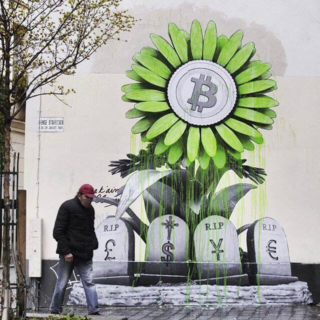 A rather optimistic look at BitCoin by  Ludo in Paris. (photo by the artist)  #StreetA ...