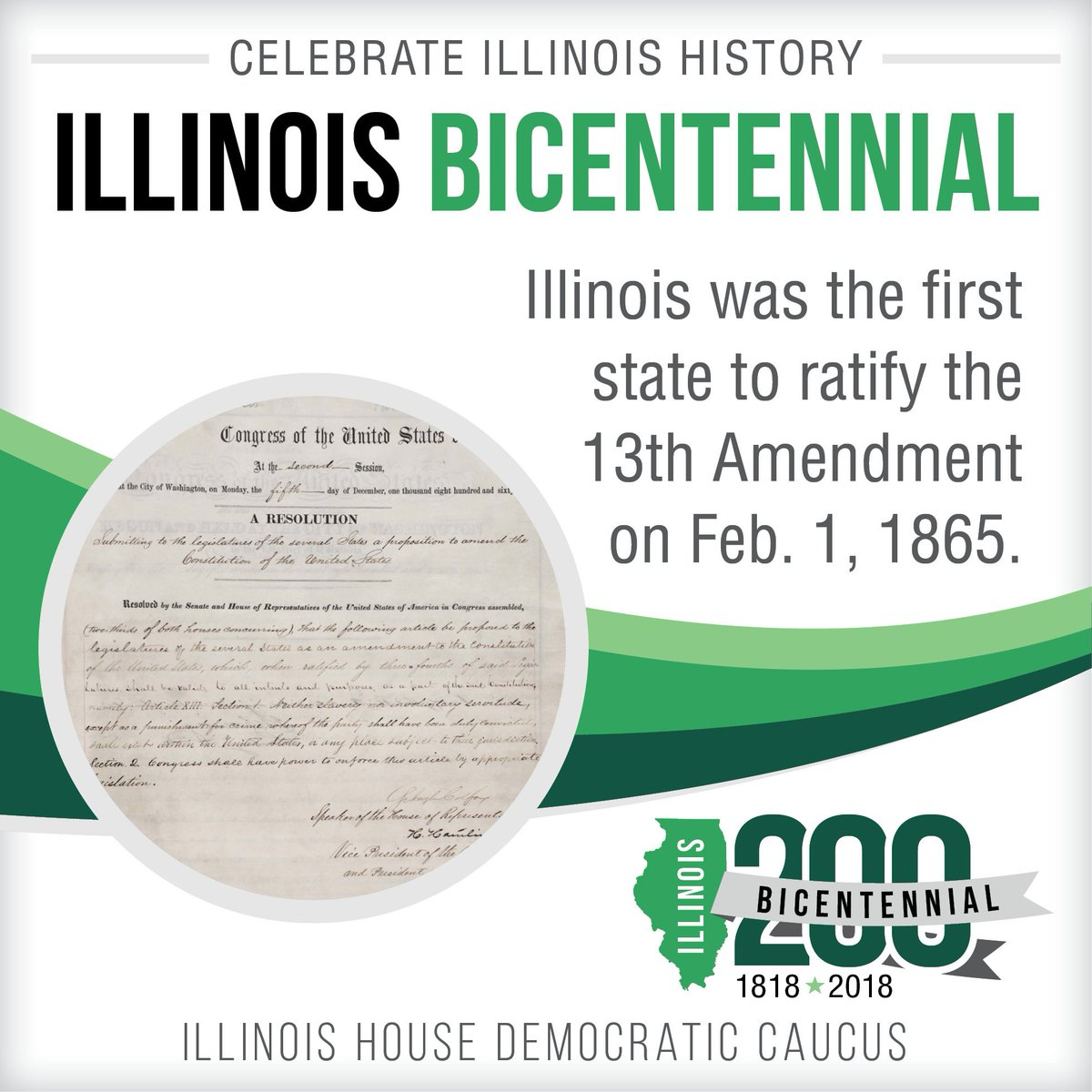 test Twitter Media - Did you know that the Thirteenth Amendment, which abolished slavery, was written by U.S. Senator Lyman Trumbull from Alton, Illinois? #Celebrate200 #IllinoisProud https://t.co/x4YMVq5rJd