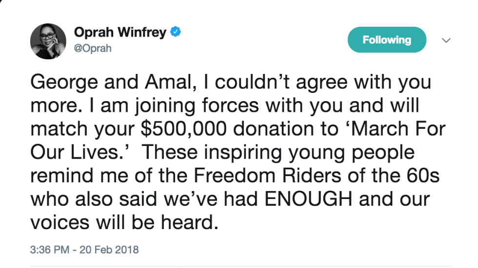 Oprah joins Clooneys in support of gun control march organized by Florida shooting survivors https://t.co/oXzZwD5JOb https://t.co/S2RDoi8siq