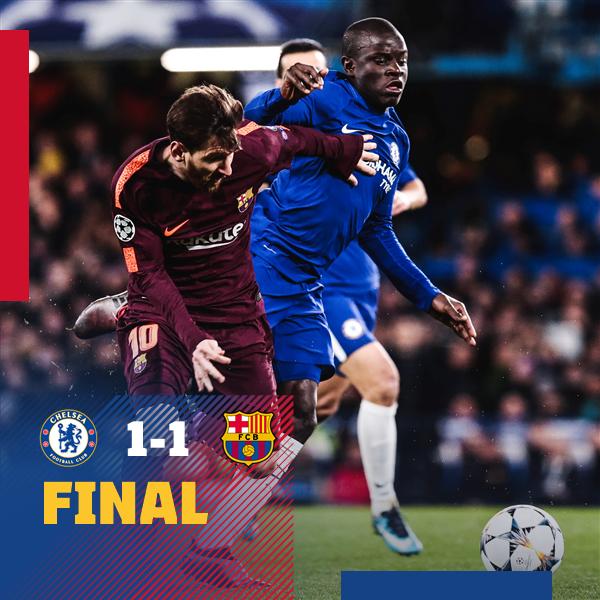 ⏰ Final del partit! Chelsea 1-1 FC Barcelona ⚽ Willian i Messi ���� #ChelseaBarça #ForçaBarça https://t.co/mxSDIOAOBJ