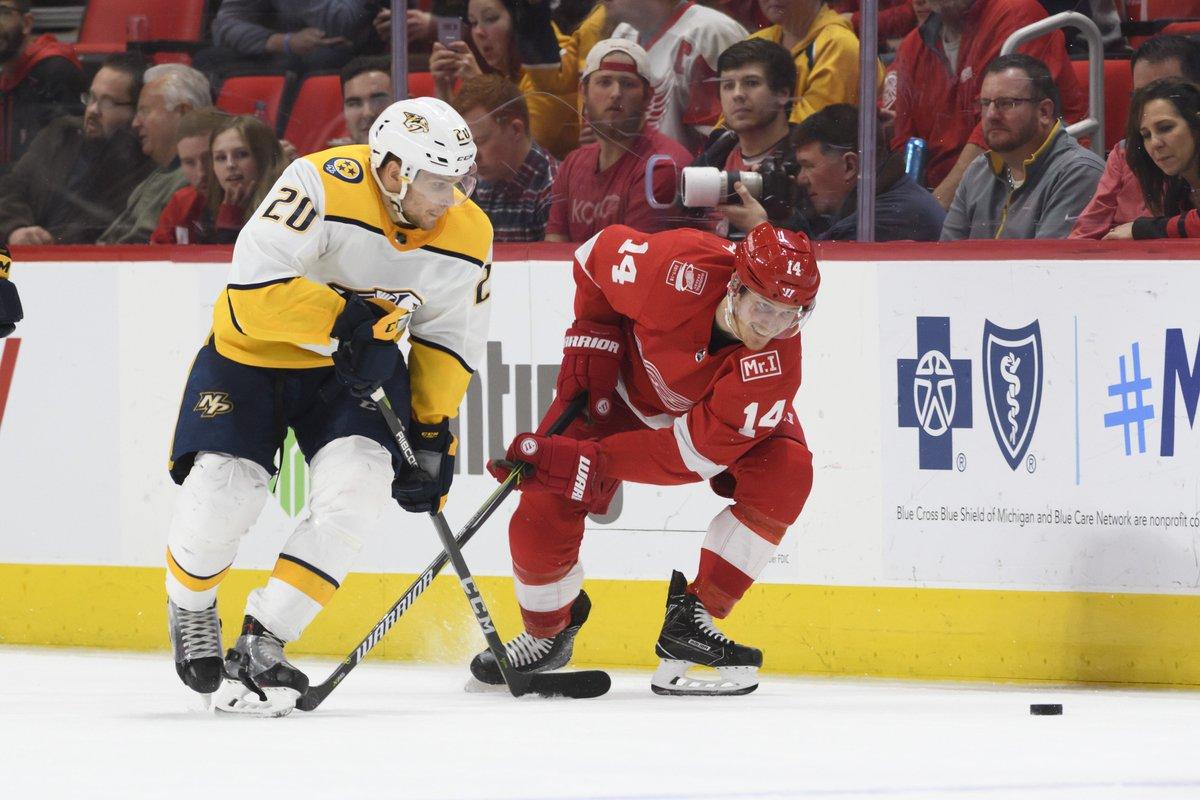 Wings' hot streak vs. Predators finally ends