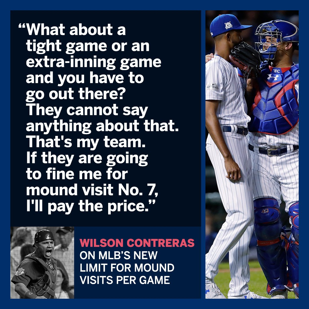 Safe to say Wilson Contreras isn't a fan of MLB's new mound visit limit. https://t.co/THmbYXENwK https://t.co/Nm8iSP3DGf