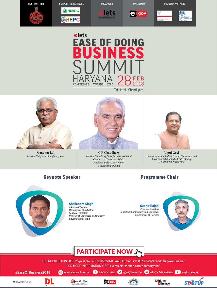 test Twitter Media - Discuss Challenges and Brainstorm towards driving more reforms at Elets Ease of Doing Business Summit - Haryana on 28 February in Chandigarh, India.   Do you have any queries? Contact us   Visit: https://t.co/AFZVv0uTyw #EaseOfBusiness2018  @cmohry  @Industrieshry @DIPPGOI https://t.co/8BmAtw8RjI