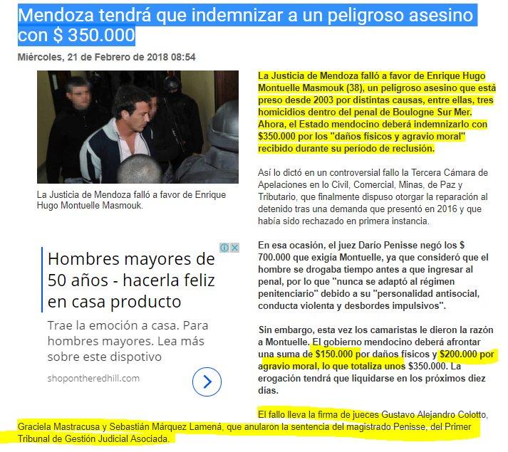 Mendoza tendrá que INDEMNIZAR a un peligroso ASESINO  con $ 350.000. JUSTICIA DELIRANTE. 🤬  Fallo firmado jueces: Gustavo Alejandro Colotto Graciela Mastracusa Sebastián Márquez Lamená, que anularon la sentencia del magistrado Penisse, del 1º Tribunal d Gestión Judicial Asociada