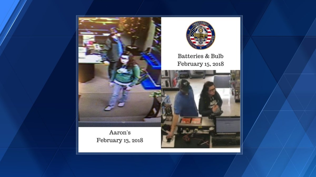 Pelham police seek help finding couple suspected of taking laptop from business