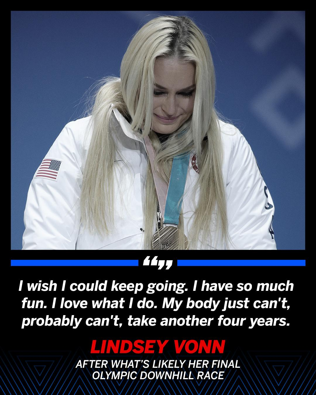 Lindsey Vonn, the oldest female alpine-skiing medalist in Olympics history, wishes she could go another 4 years. https://t.co/ZgqUpMJWmW