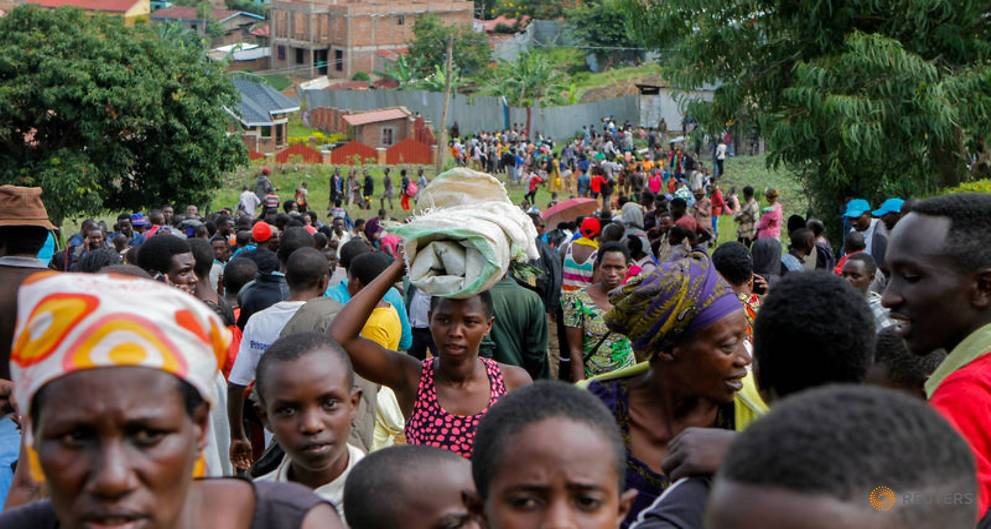 Congolese refugees camp at UN refugee office in Rwanda, protest food cuts
