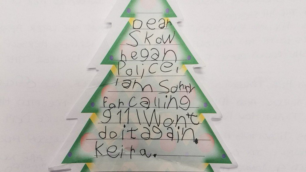 'I won't do it again': Maine girl sends card to police after accidentally calling 911
