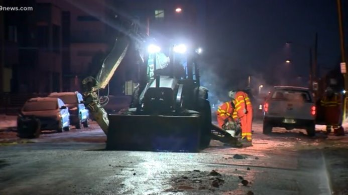 Crews work to repair water main break near Sloan Lake