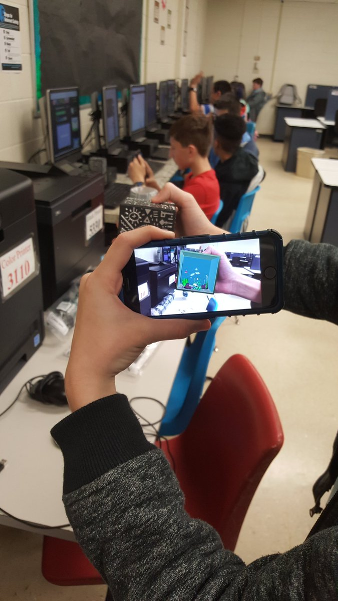 Exploring @MergeVR today in game design. #edtech #mergecube #dms https://t.co/AEfpaBuzt7