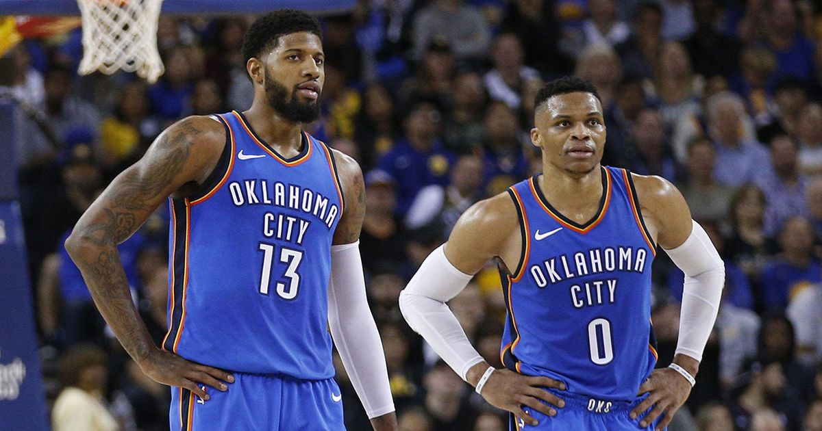 Colin Cowherd says Russell Westbrook and Paul George in Oklahoma City isn't working Click link to view and comment https://t.co/DXXMtTRCrx https://t.co/uSPlpXsKo9