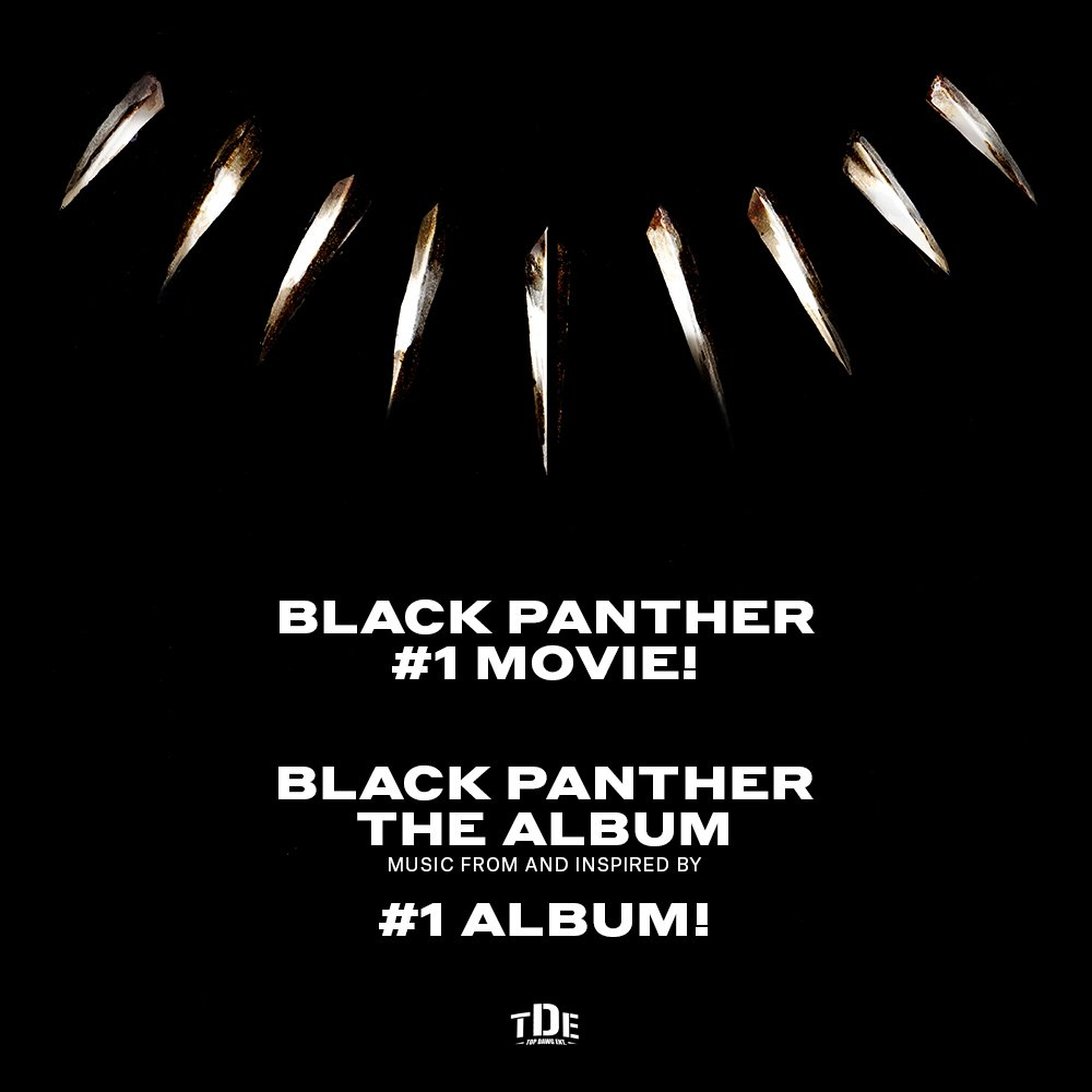 Congratulations to @kendricklamar & @TopDawgEnt on their #1 Album #BlackPanther The Album https://t.co/Xg35r6Yilk https://t.co/EHGCS6qGOB