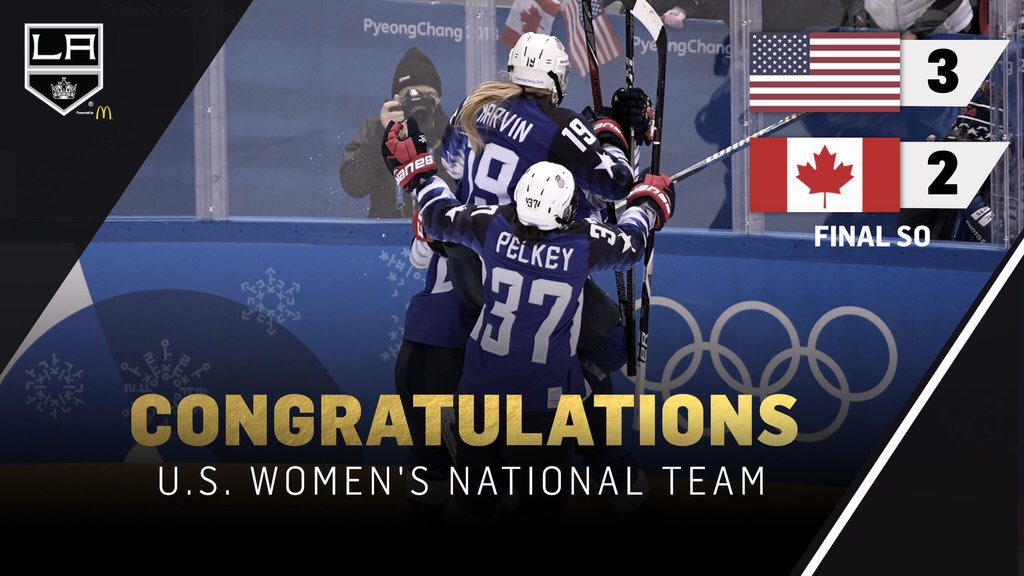 RT @LAKings: Congratulations to the Women's @usahockey team on bringing home the gold to #TeamUSA! 🇺🇸🥇 https://t.co/HoSmQpdFGv