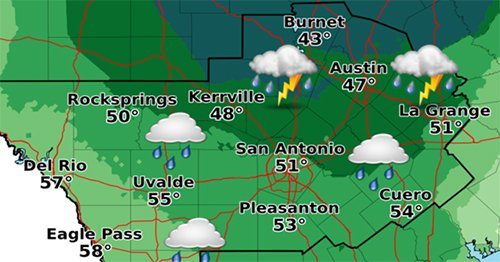 Scattered storms bring cold rain; temps mainly in the 40s